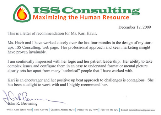 Recommendation for Marketing Eco from John R. Browning, President, ISS Consulting