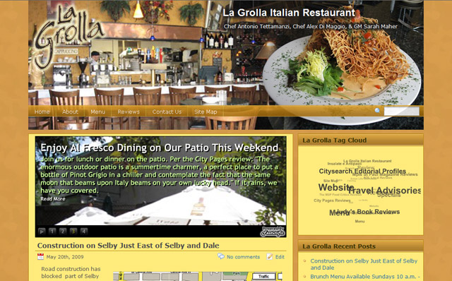 La Grolla Italian Restaurant WordPress Website and Content Management Portal