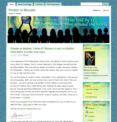 Women as Healers WordPress website integrated with social media