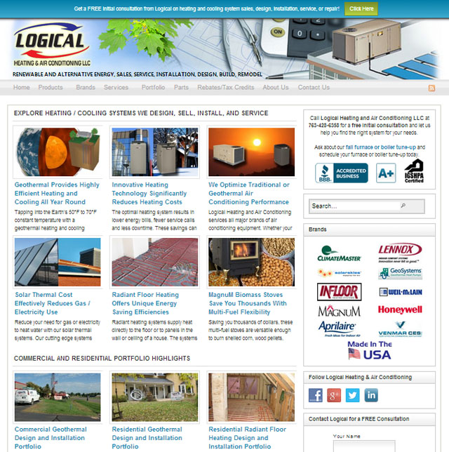 Logical Heating and Air Conditioning's New WordPress Website Increases Visitor Traffic