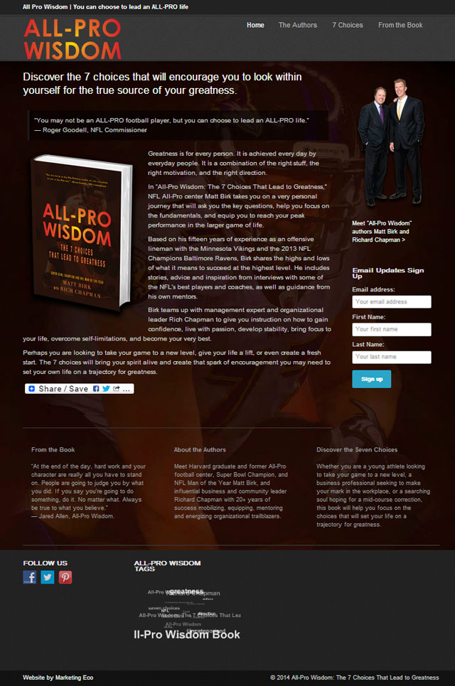 All-Pro Wisdom WordPress Website by Marketing Eco Optimizes SEO and Integrates Social Media and Contact Management for the Book Launch
