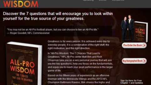 All-Pro Wisdom Book Launch Website by Marketing Eco Integrates Social Media and Contact Management, Optmizes SEO, and Provides 24/7 Content Management via WordPress